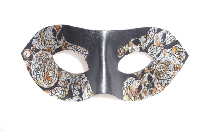 Exclusive Genuine Handmade Leather Multi Toned Silver Leaf Mask